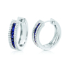 High Quality 925 Sterling Silver Jewelry Created Sapphire CZ Synthetic Diamond Hoop Round Princess Earrings for Woman Gift