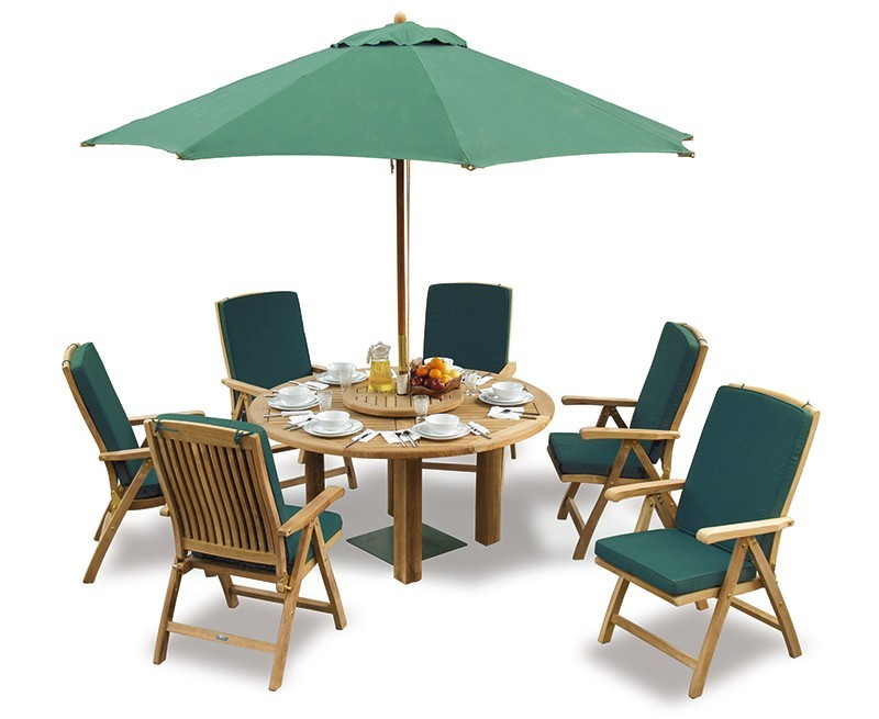 Orion Teak 6 Seater Round Garden Table And Reclining Chair Set with Umbrella - Outdoor Furniture