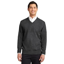 Port Authority Value V-Neck Sweater - 100% acrylic, has spandex in cuffs and hem for shape retention and comes with your logo