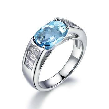 925 Sterling Silver Natual Topaz Women Engagement Ring Fine Wedding Gemstone Jewelry Pear Shape