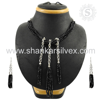 Antique black spinel gemstone jewellery set handmade 925 sterling silver jewelry wholesaler india