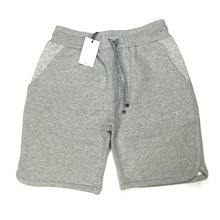 Customized cotton terry fleece men sweat shorts rolled hem with knotted drawstring