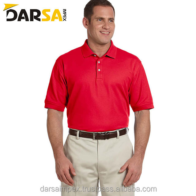Multi color garment dyed 80% cotton 20% polyester men polo shirts,wholesale - red color men polo shirt