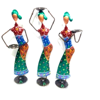 Indian Beautiful Handmade Painted Metal Set of 3 Unique Home Decor Showpiece Colorful Tribal Musician Lady