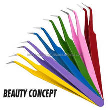 Curved Eyelash Extension Tweezers in Beautiful Colors/ Colorful Painted Eyelash Extension Tweezers/ Colored Eyelash Tweezers