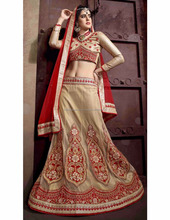 Brown lehnga with border for women with red duptta