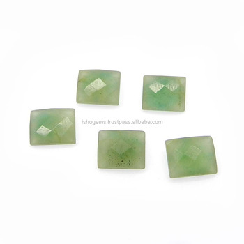 Green aventurine semi precious 11x9mm octagon checkerboard cut 5.10 cts loose gemstone for jewelry