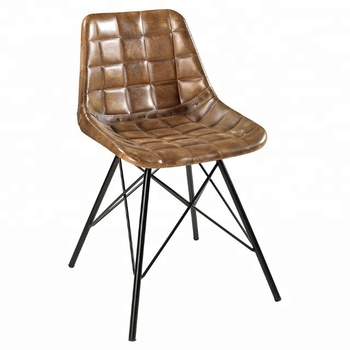 Indian Handmade cheap strong metal vintage industrial black legs dining leather chairs