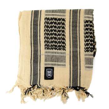 Tan Black Color Customized Military Shemagh Arab Tactical Desert Shemagh KeffIyeh Scarf Wrap 100 % Cotton
