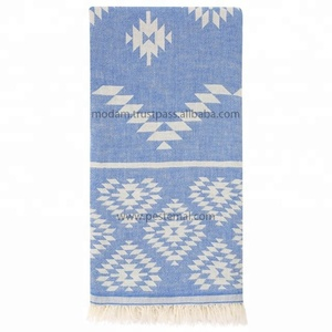 Jacquard Truva Design with Turkish Traditional Symbols Patterned Wholesale Peshtemal Towels Soft-Touched Beach Towel %100 Cotton