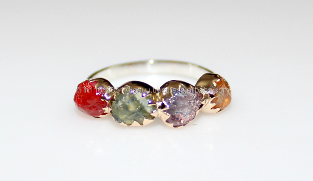 Rough Sapphire ring - Multi Sapphire rough ring - Raw sapphire ring