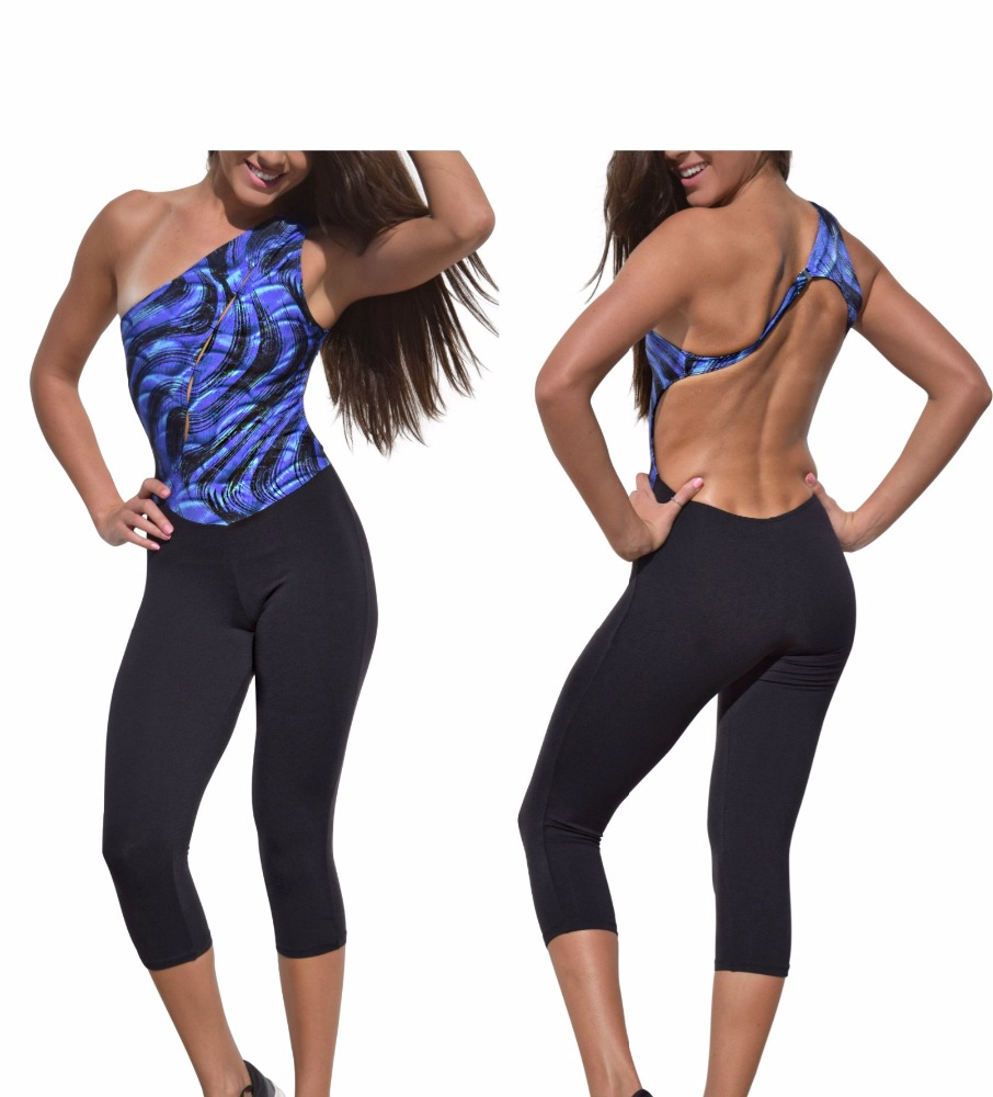 BLUE BLACK FUSION ONE sublimation ROMPER Brazilian jumpsuit bodysuit fitness suit legging top