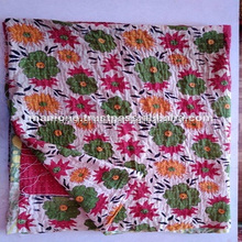 Quilts made in india Handmade New Vintage Kantha Quilt Reversible Throw Blanket