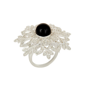 Handmade 925 Sterling Silver Ring Black Onyx & White Zircon Gemstone Rings Jewelry Wholesaler