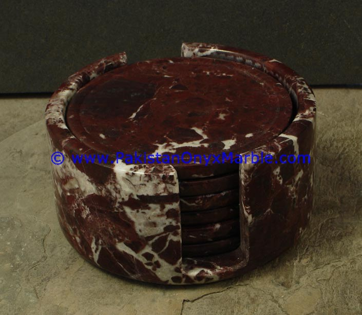 MARBLE COASTER SETS RED ZEBRA MARBLE