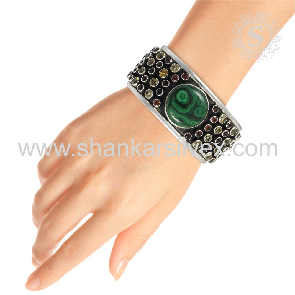 Graceful silver bangle handcraft jewelry 925 sterling multi gemstone silver wholesale jewellery india