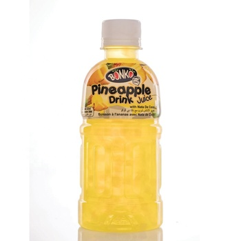 Fruit Drink Juice Pineapple with Nata De Coco 320ml Plastic bottle BONKO cube brand