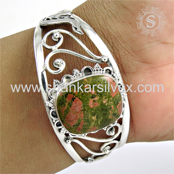 Reticulated silver bangle unakite gemstone jewellery online 925 sterling silver jewelry exporter