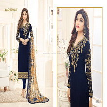 Beautiful Woman Wear Embroidery Shamita Aashirwad Georgette Fancy Straight Suit