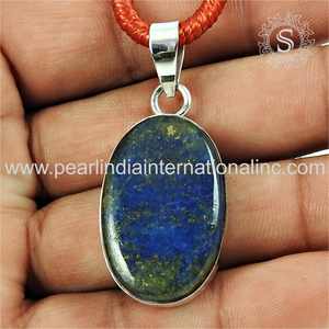 Blue lapis lazuli gemstone silver oval shape pendants jewelry suppliers 925 sterling silver natural gemstones pendants
