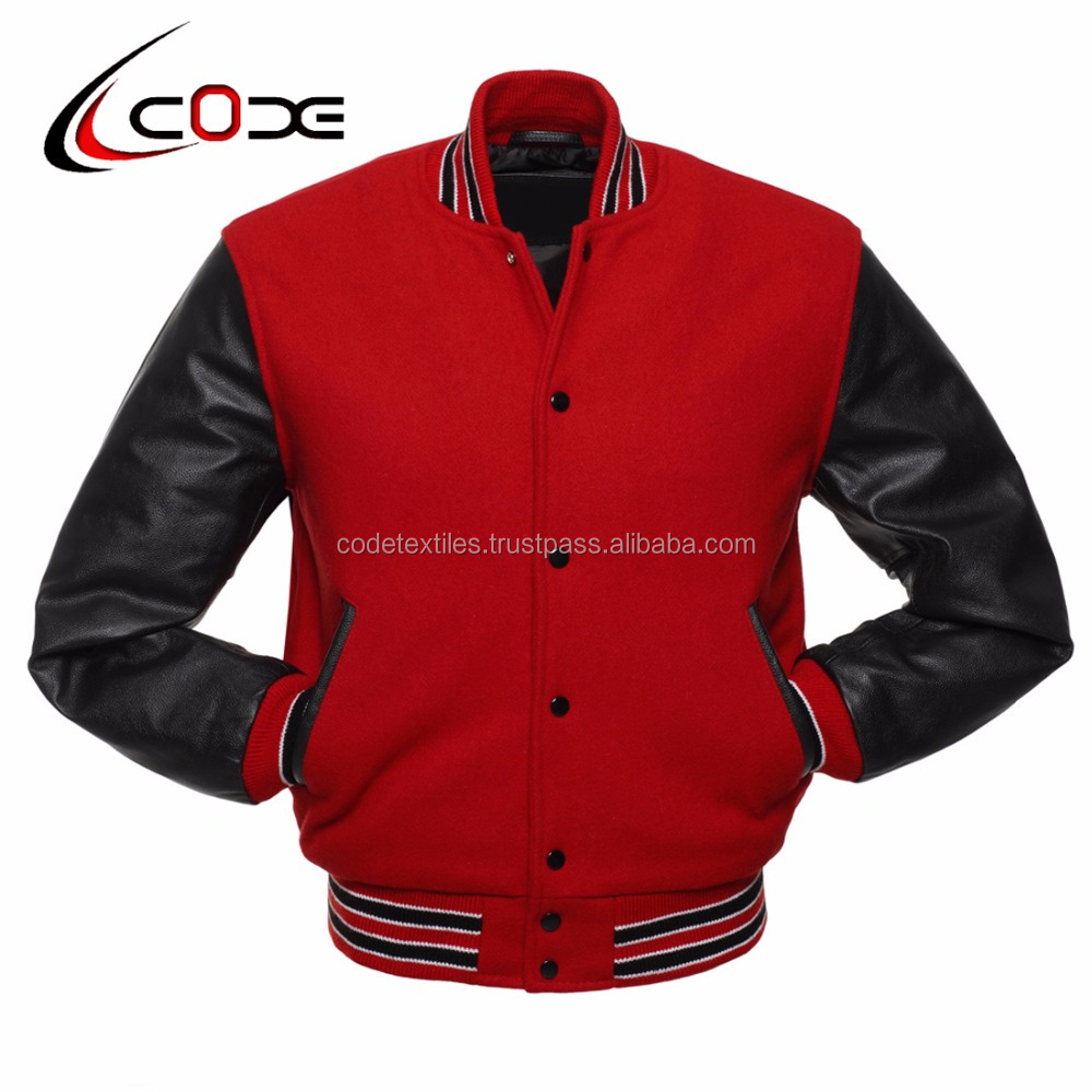 CODE TEXTILES , Varsity jackets , Black Wool Hood and Body With White Premium Cow leather Sleeves Striped Knitted