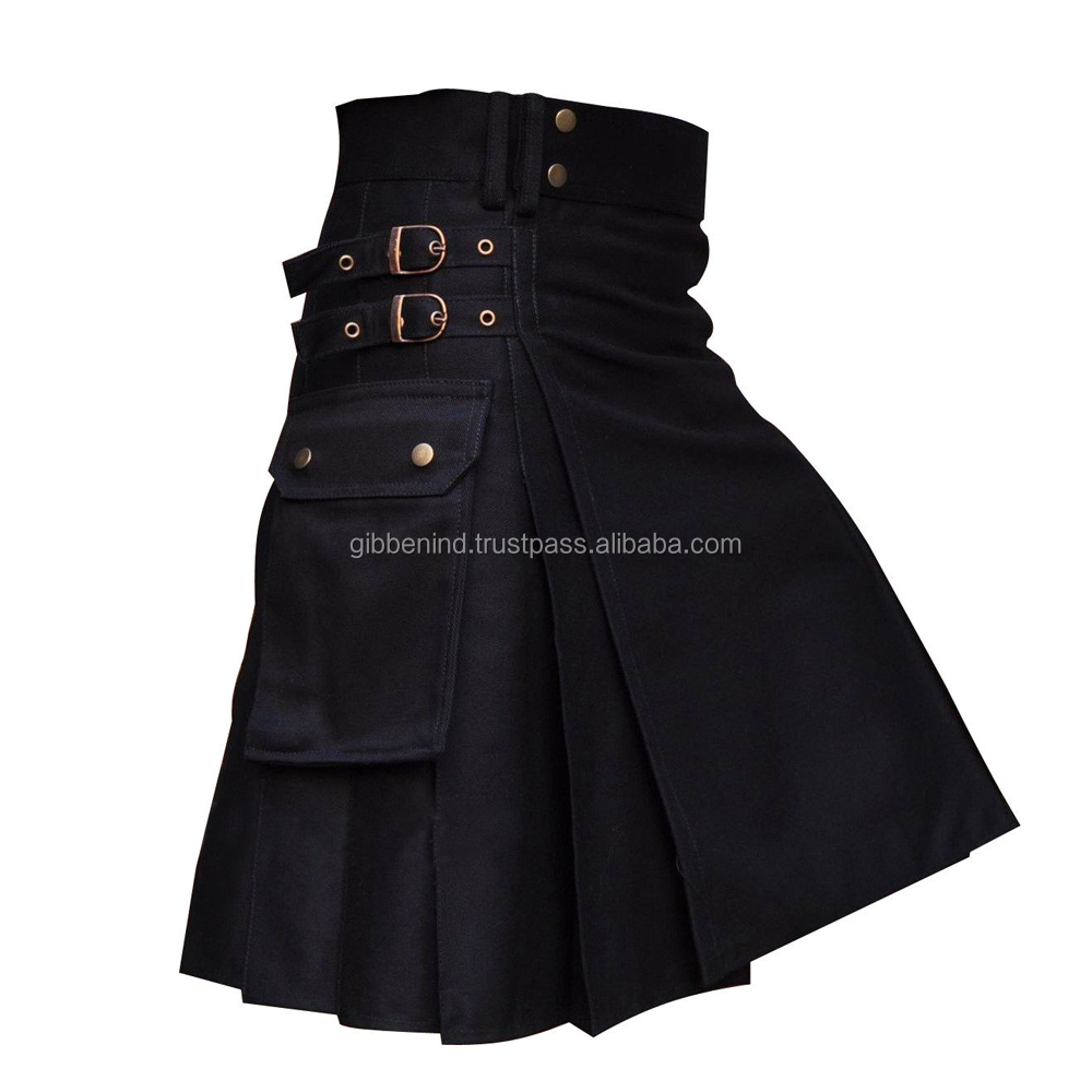 Black Utility Wedding Kilt Made Cotton Best Men's Wear