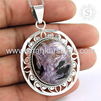 Charoite gemstone round shape pendant 925 sterling silver jewelry pendants wholesale supplier