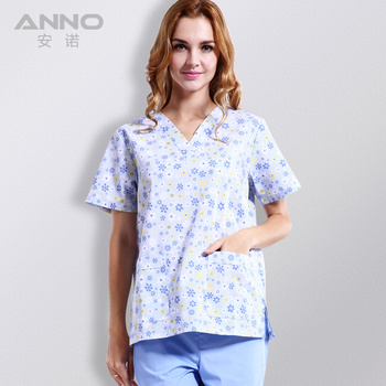 2019 manufacture printed new V-Neck short sleeve wholesale scrubs dress