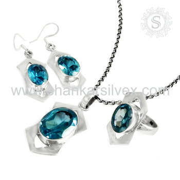 Bridal fashion design blue topaz jewelry set 925 sterling silver jewelry indian jewelry wholesaler