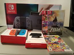 Nintendo Switch 32GB Console Grey, Neon Blue Joy-Con & Extra 20 Games