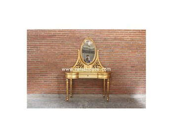 Antique Furniture - Dressing table with oval rose Mirror Indonesia Furniture