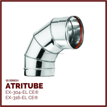 EX - Single Wall Stainless Steel Chimney Elbow Flue Pipe Tube ATRITUBE EX-304/316-EL/SR CE
