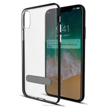 [ Manufactured in India ] Drop Protection Transparent Case with Magnetic Metal Kickstand for IPX - Black