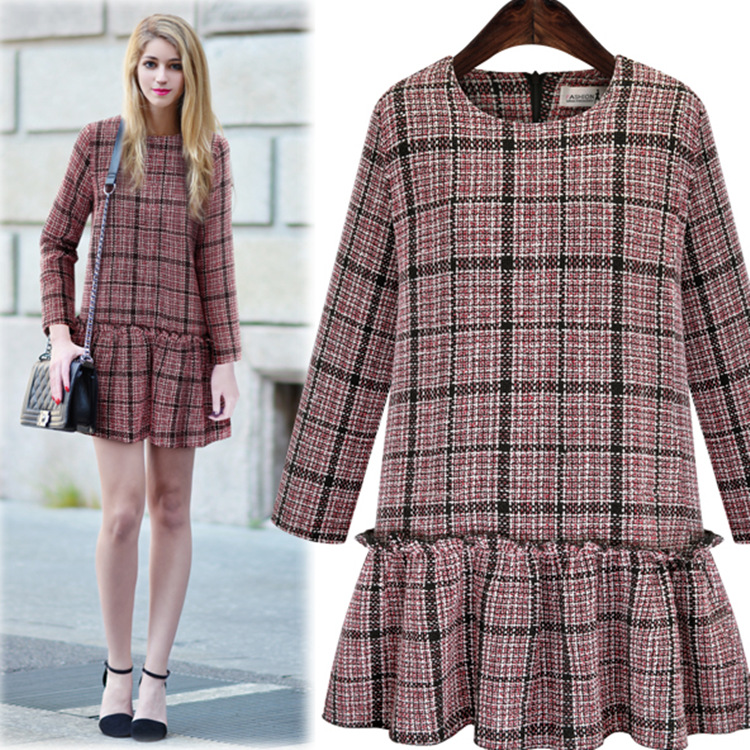 Fashion long sleeve checked pattern women party dress with flare hem