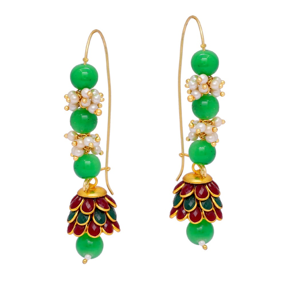 Gold Plated Maroon & Green Color Imitation Pearl Pacchi Earrings