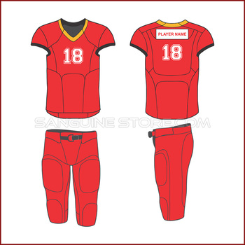 Red American Football Uniform with Capless Sleeves and Shorts with Free customization