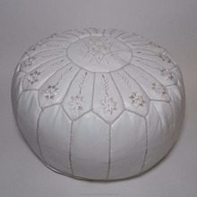 White moroccan leather pouf handmade ottoman footstool REF02 pouffe wholesaler