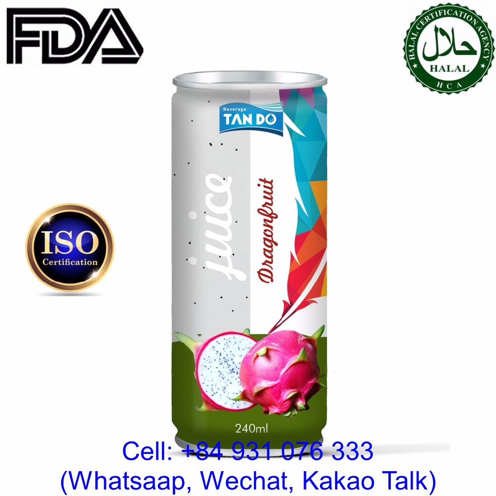 Wholesale Private Label 250ml Tinned Fruit Juice Dragon fruit
