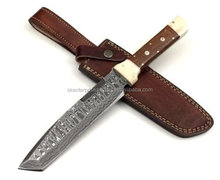 Hand Made Damascus Steel Tanto Knife Rose wood and mosaic pins horn With Spacers SK-547