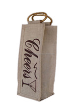 Silkscreen printing eco-freindly 1 bottles jute wine bag