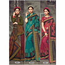 The multi color designer wear handloom Cotton Saree