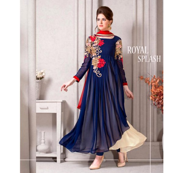 ROYAL BLUE 03 FROCK EMBROIDERED CHIFFON 3 PIECE SUIT
