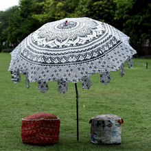 Hippie garden parasol round ombre mandala indian handmade cotton tapestry outdoor sun shade patio beach umbrella