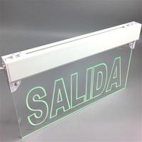 Peru style Edge Lit SALIDA Exit Sign - Adjustable Angle - Green Mount-one side-double serface emergency exit sign