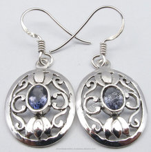 925 Sterling Pure Silver Rare IOLITE Gem EXTRA ORDINARY CELTIC Ear Ring 1.4 Inch Fashion Gemstones Women Jewelers Supplier