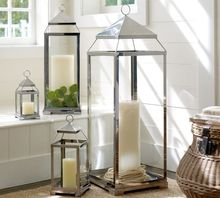 Pottery Barn stainless steel candle lantern
