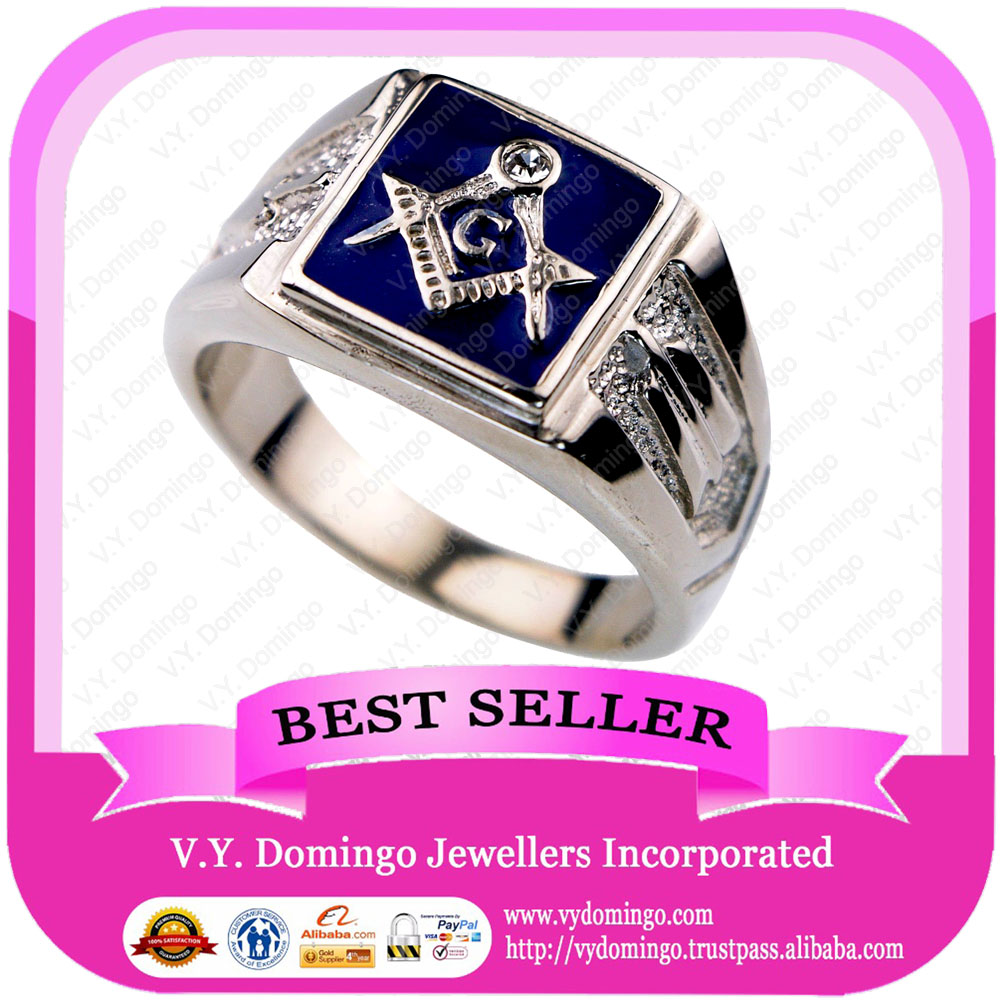 Sterling Silver 925 Emblem with Blue Resin on Top Wholesale Mason Ring