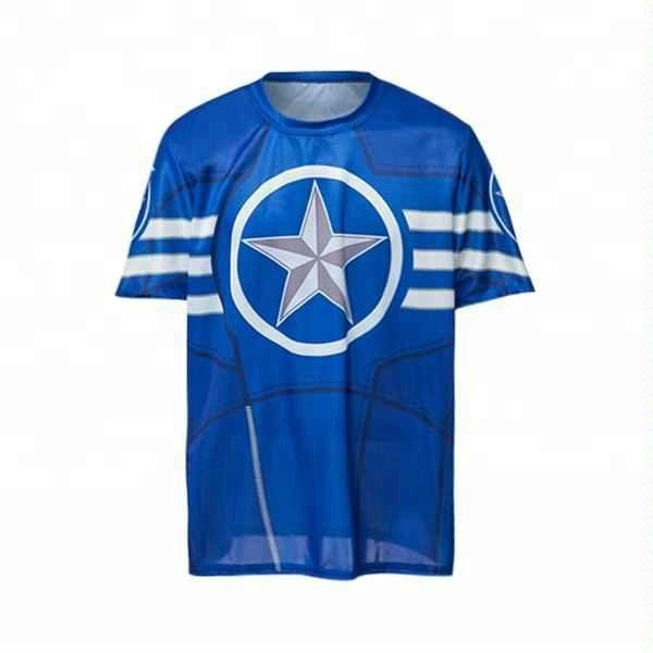 Fashion Round Neck Slimming Color Block Captain America Print
