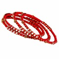 Jaipur Mart Gold Plated Red Color Glass Stone Bangles Set PLKB281-2.6
