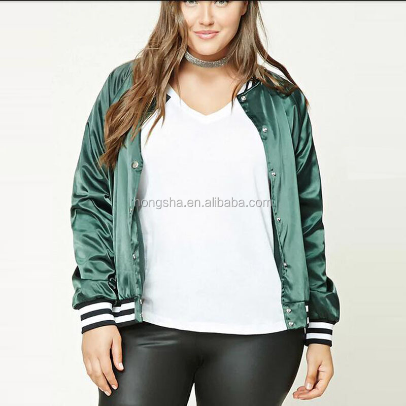 2017 Latest Autumn Long Raglan Sleeves Plus Size Satin Baseball Jacket For Women HSj9274